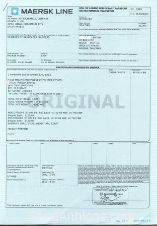 bill goc original bill of lading
