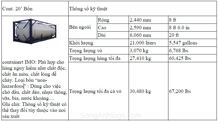 container 20 feet bồn