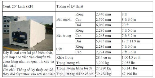 Container 20' RF lạnh