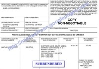 surrendered bill of lading