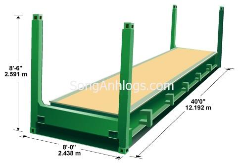 Kích thước container flat rack 40 feet