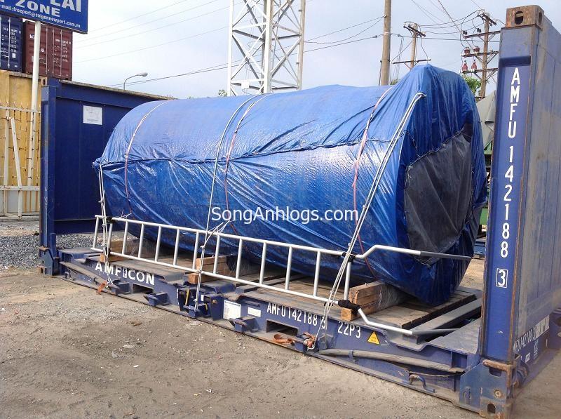 vận chuyển bồn nước bằng flat rack