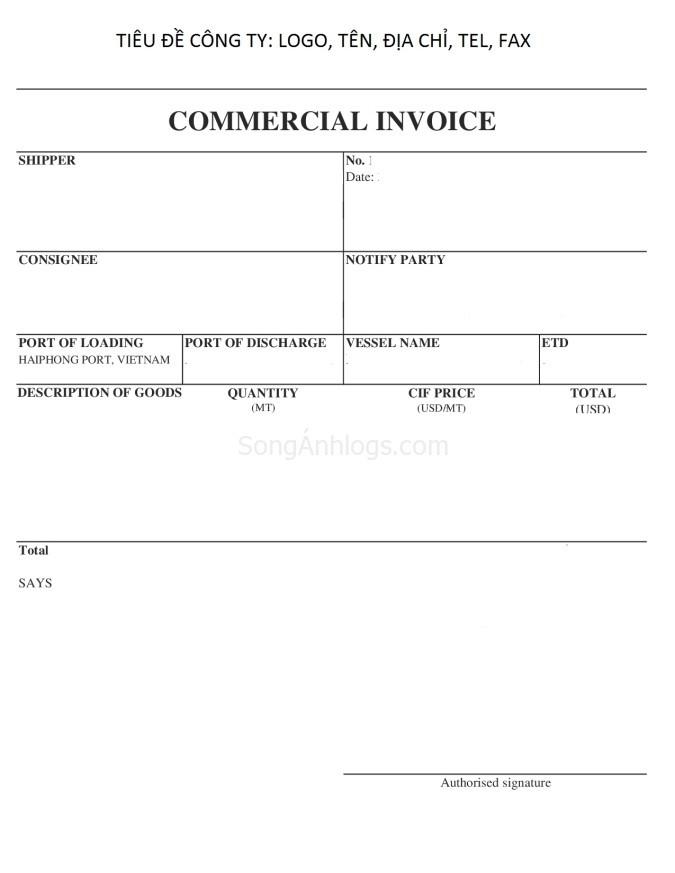 Commercial Invoice - Hóa đơn thương mại