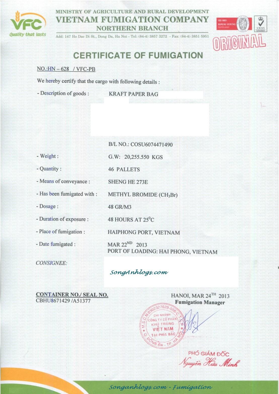 Giấy chứng nhận hun trùng - Certificate Fumigation