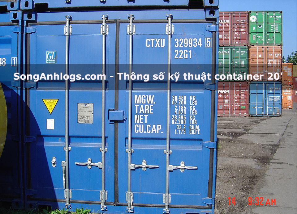 Thông số kỹ thuật container 20 feet