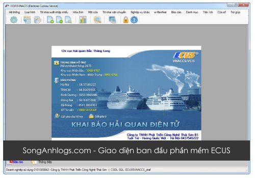 Giao diện ban đầu phần mềm ECUS – Khai báo hải quan điện tử VNACSS