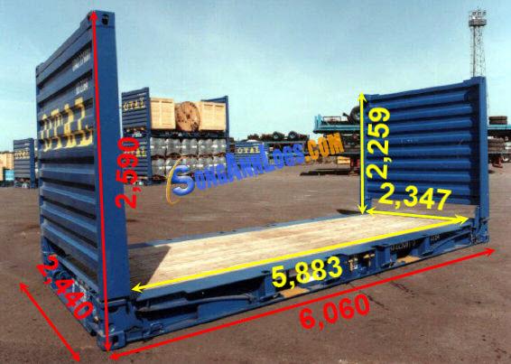 Kích Thước Container 20 feet Flat Rack