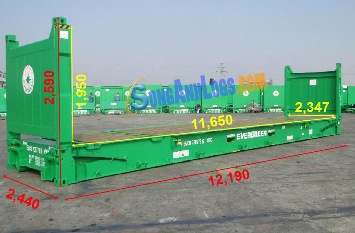 Kích Thước Container 40 feet Flat Rack