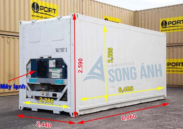 Kích Thước Container 20 feet - Cont Khô, Lạnh, Phủ Bì, Lọt Lòng