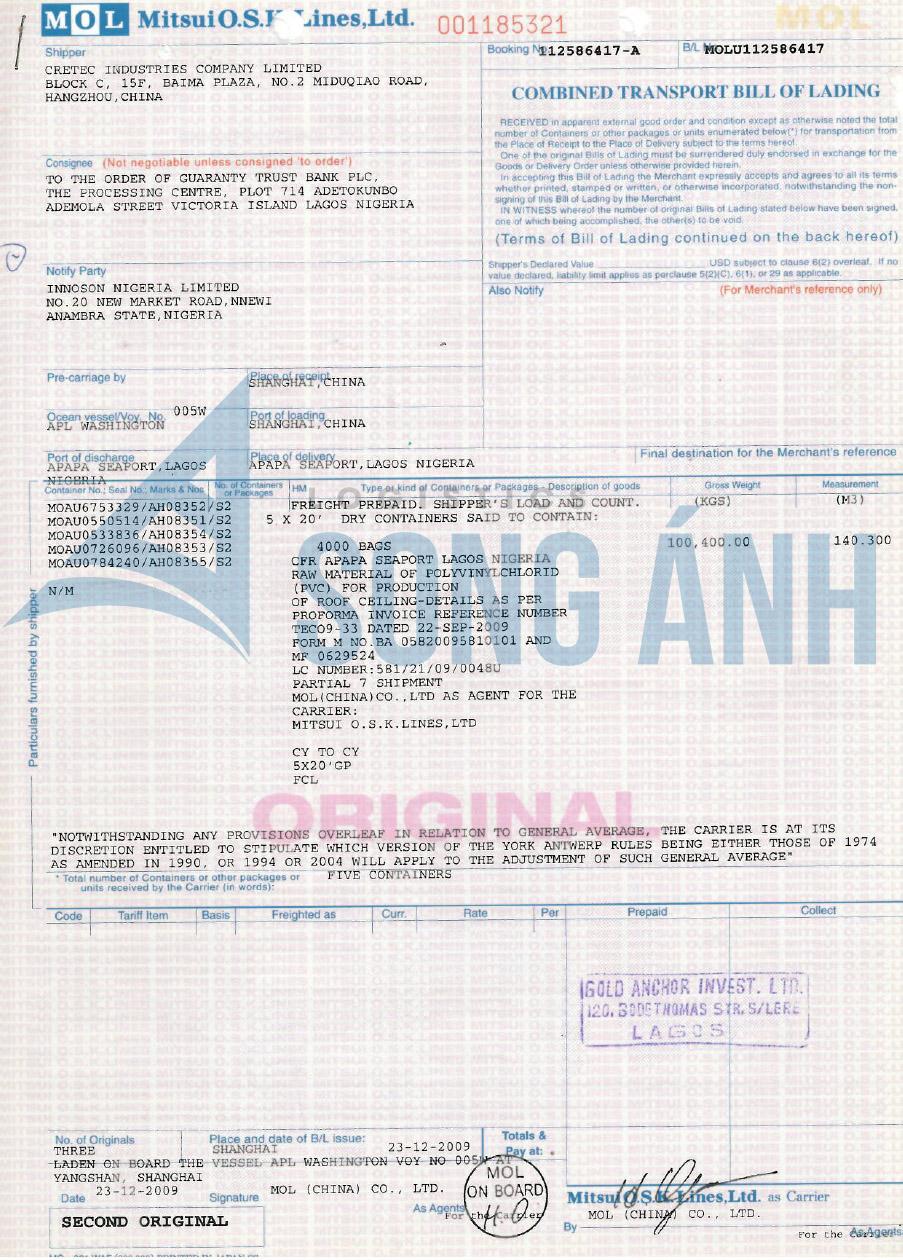 Vận đơn theo lệnh to order of bank