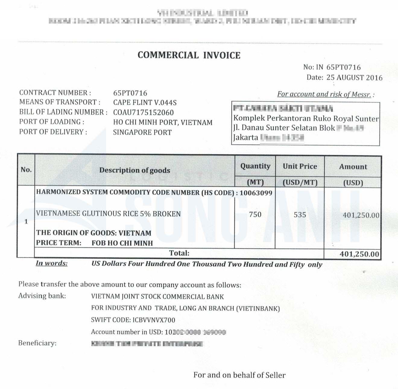 Commercial Invoice – CI Hóa đơn thương mại