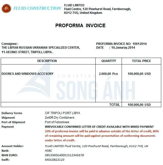 Proforma Invoice là gì hóa đơn chiếu lệ