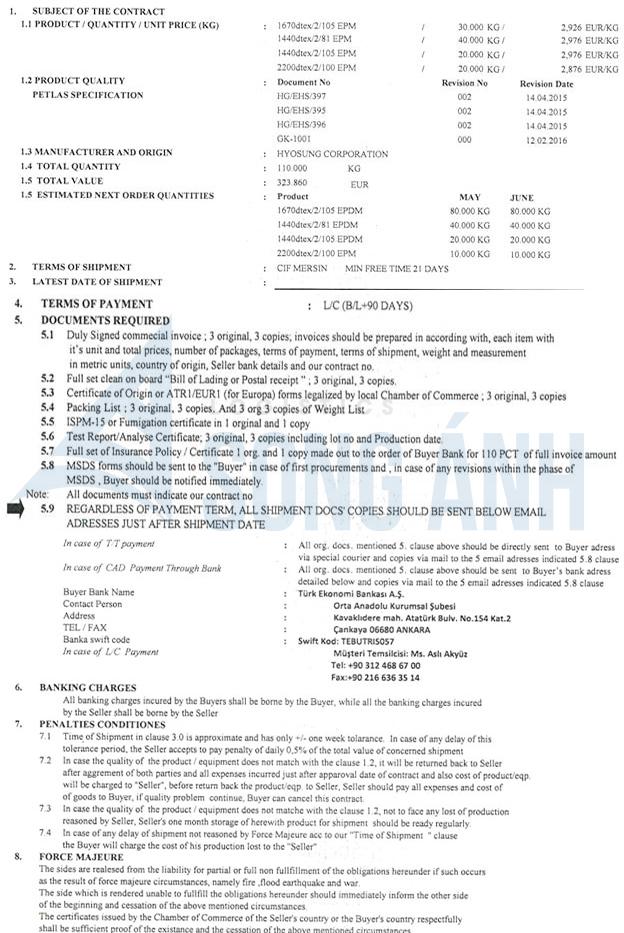 Hợp đồng thương mại trong thanh toán LC