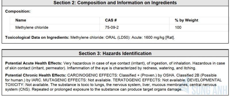 Hazardous Ingredients (Thành phần độc hại) MSDS