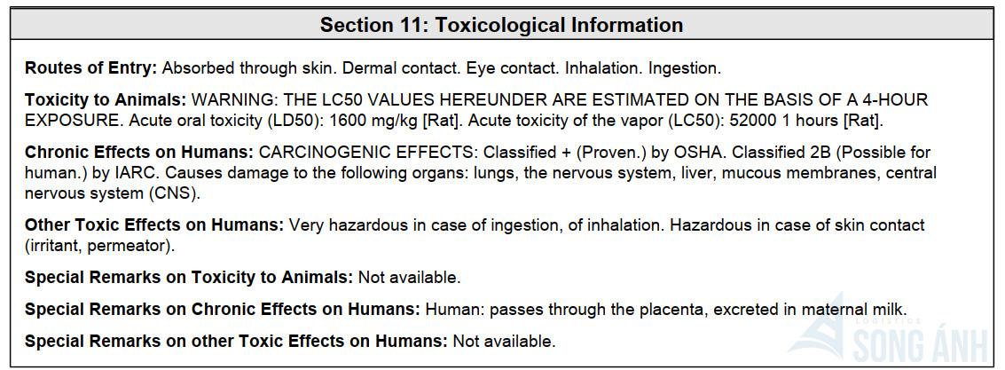 Toxicology Properties (Các thuộc tính gây độc)