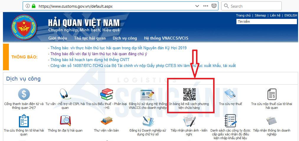 Trang web Hải Quan Việt Nam