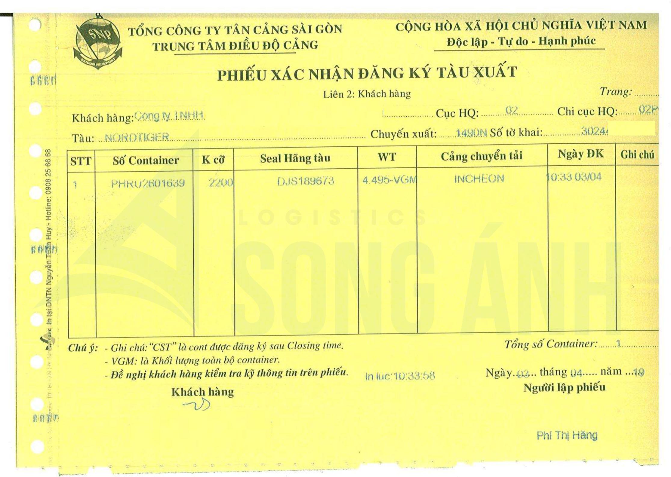 Phiếu xác nhận đăng ký tàu xuất Cát Lái