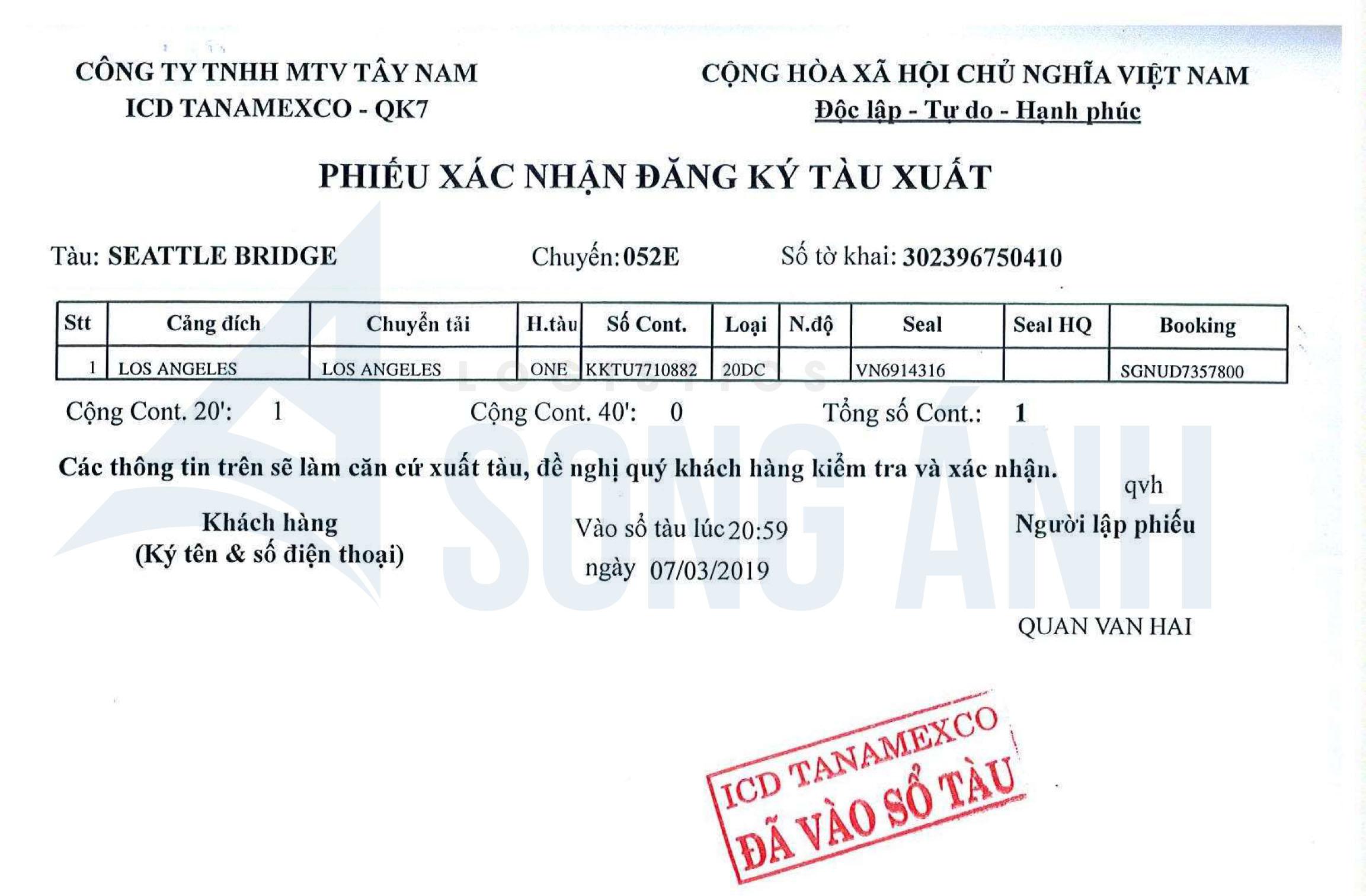 Phiếu xác nhận đăng ký tàu xuất ICD Tanamexco