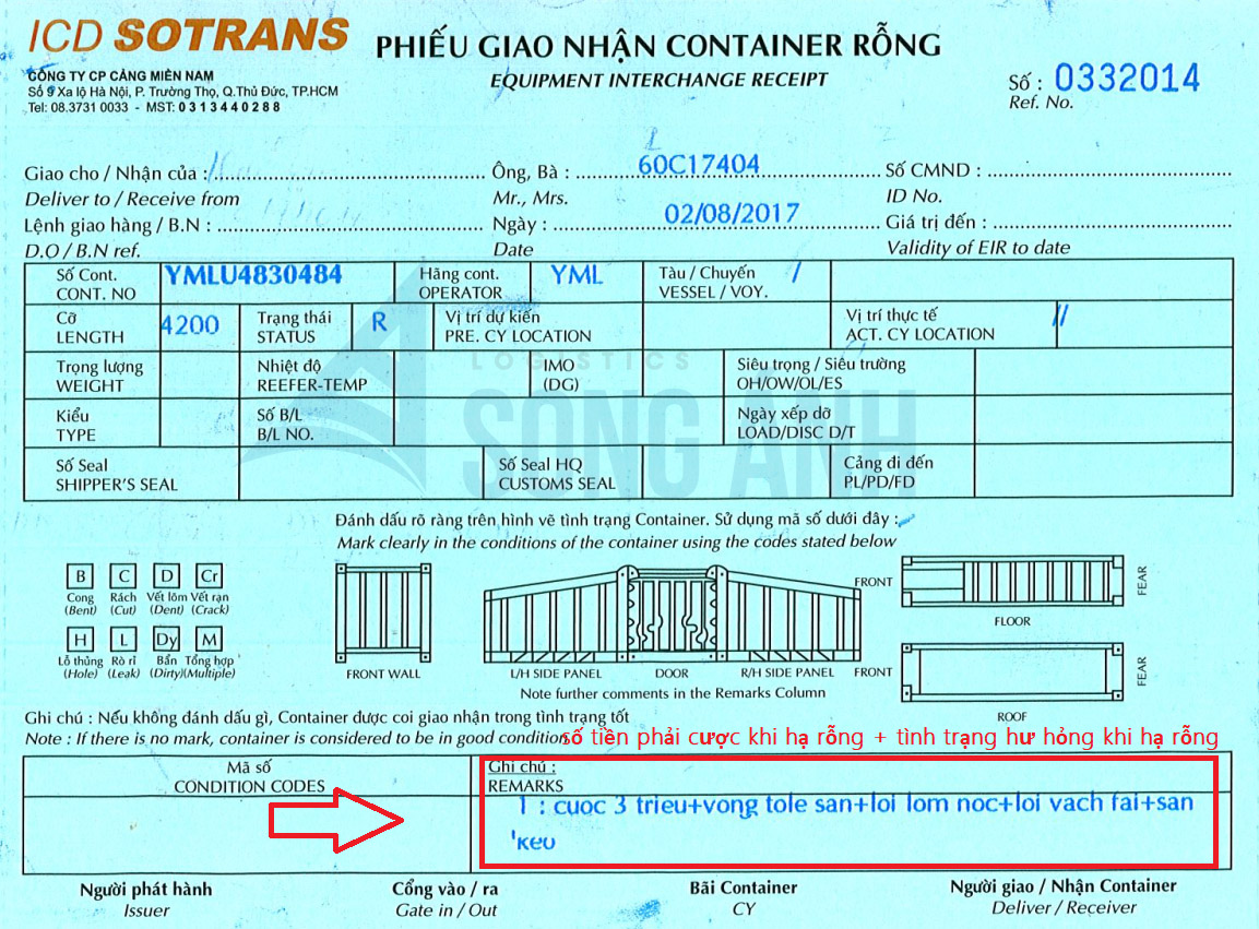Phiếu giao nhận container rỗng